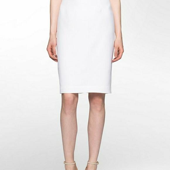 5258c334d eric signature Skirts   New Linen Blend White Ruffle Detail Pencil ...